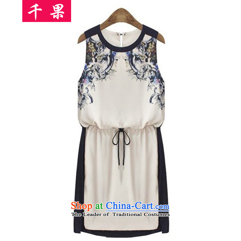 The results of the2015 European and American Women's large fat mm summer new Foutune of retro stamp forming the sleeveless loose Sau San video thin dresses6626color picture2XL125-145 around 922.747