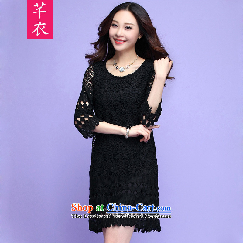The 2015 autumn new boxed xl girl who video thin stereo decorated lace flowers dresses thick sister leisure lady Foutune of fifth cuff video thin black skirt135-150 2XL catty