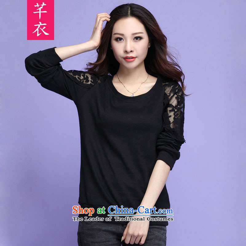 Xl women in the autumn of 2015, replacing the new fat mm wild lace knitted shirts thick sister Fashion Wear long-sleeved shirt with lace lady black T-shirt?3XL temperament 160-175 catty