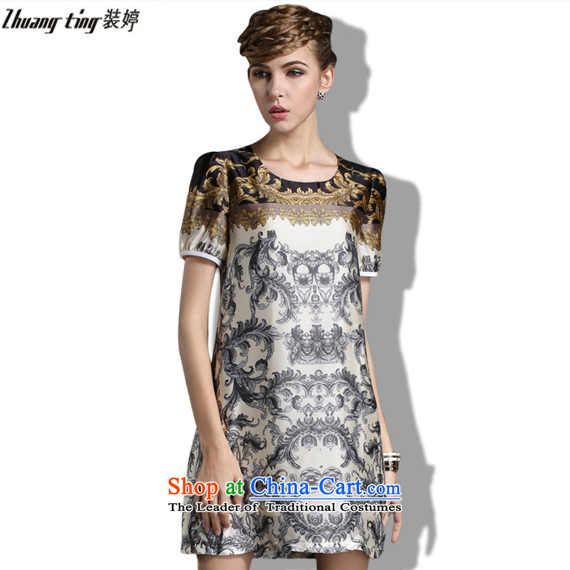 Replace zhuangting Ting 2015 Summer new high-end western thick mm larger female plus snow woven short-sleeved dresses khaki3XL 1843