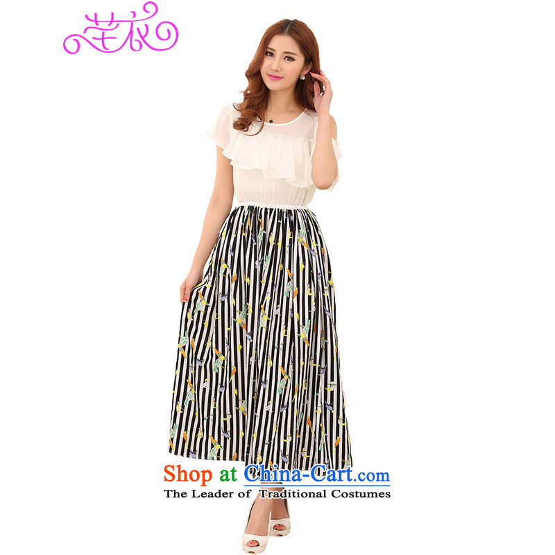 2015 XL female new foutune graphics build stamp chiffon long skirt thick mm sexy small single shoulder of leisure shade temperament suits skirts WhiteM