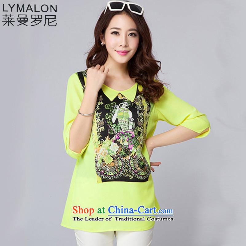 The lymalon lehmann thick, Hin thin Summer 2015 mm thick new product version won large wild women short-sleeved T-shirt chiffon 5005 Yellow聽XXXXL
