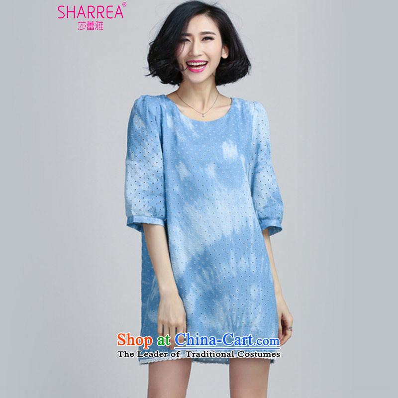 Sarah ya 2015 Summer new larger female wash denim engraving bubble cuff dresses 0961聽3XL light blue