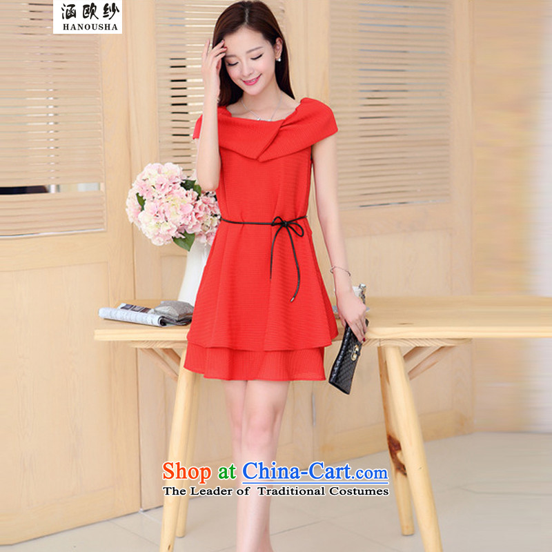 The OSCE yarn 2015 Summer covered by the new large dresses Korean loose thick MM mantle, pregnant women skirts red L