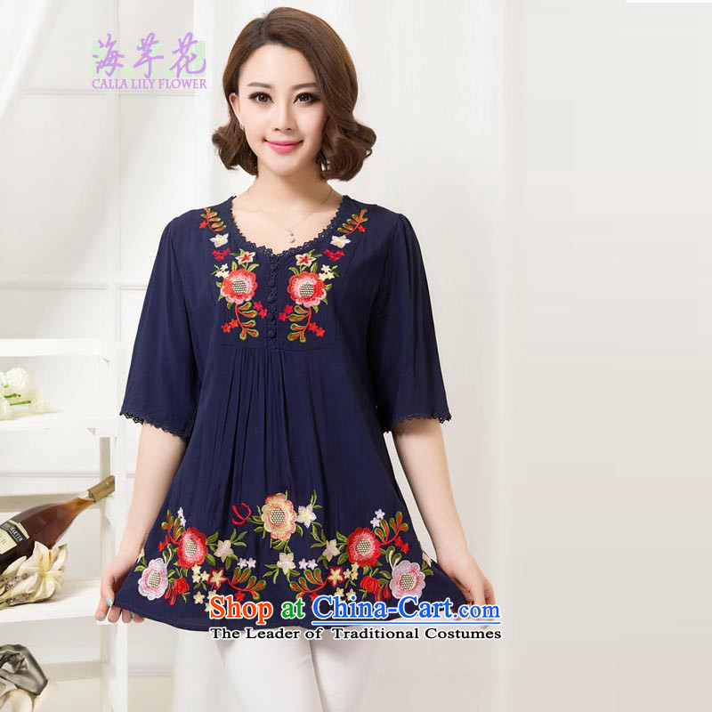The sea route take the Korean version of the new video thin small for 0700. Embroidered color lace loose cotton clothes summer code female shirt 5D1073 retro dark blue 2XL