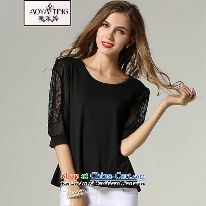 O Ya-ting2015 new to increase women's code thick mm spring and summer load in the chiffon shirt-sleeve t-shirt shirt 320 Black2XL125-145 recommends that you Jin