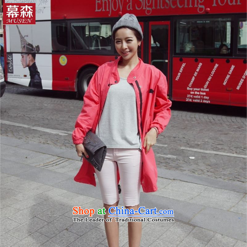 The sum of the  spring 2015 Korean version of large numbers of ladies thick mm Foutune of video thin coat leisure drawcord in Long Hoodie 200 catties can be wearing a redL
