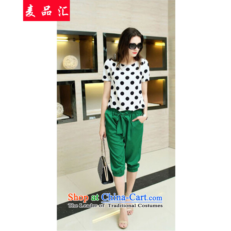Mr Hui聽2015 summer products new xl female thick MM loose video thin waves point Sau San T-shirt + Bow Tie shorts two Kit聽8956聽picture color聽3XL recommendations 145-165 catty