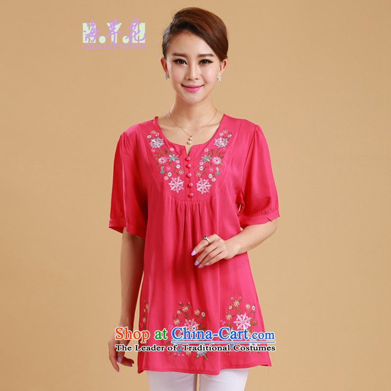 The sea route take the Korean version of the video and skinny fresh embroidered short sleeve loose cotton summer 2015 new women's clothes for larger shirt 5G1073 Western Red2XL