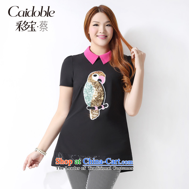 Picking taho xl women 2015 Spring_Summer new Korean version of Fat MM dolls collar parrot map graphics in thin long short-sleeved T-shirt A3732 female black聽2XL