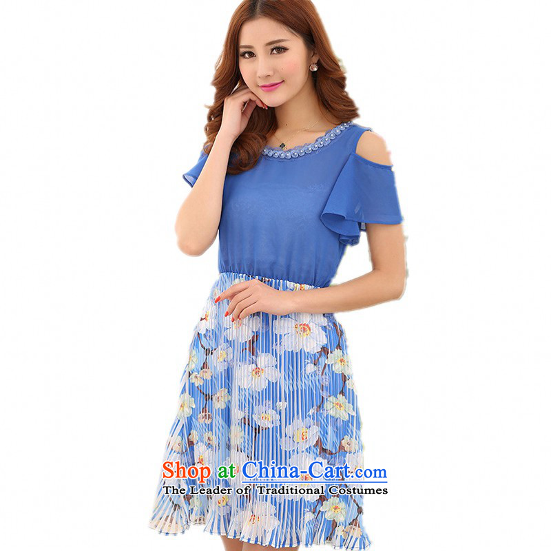C.o.d. Package Mail thick mm larger chiffon skirt 2015 Summer New floral like Susy Nagle dresses flowers round-neck collar spell color lady short skirts blueLabout 110-120 catty