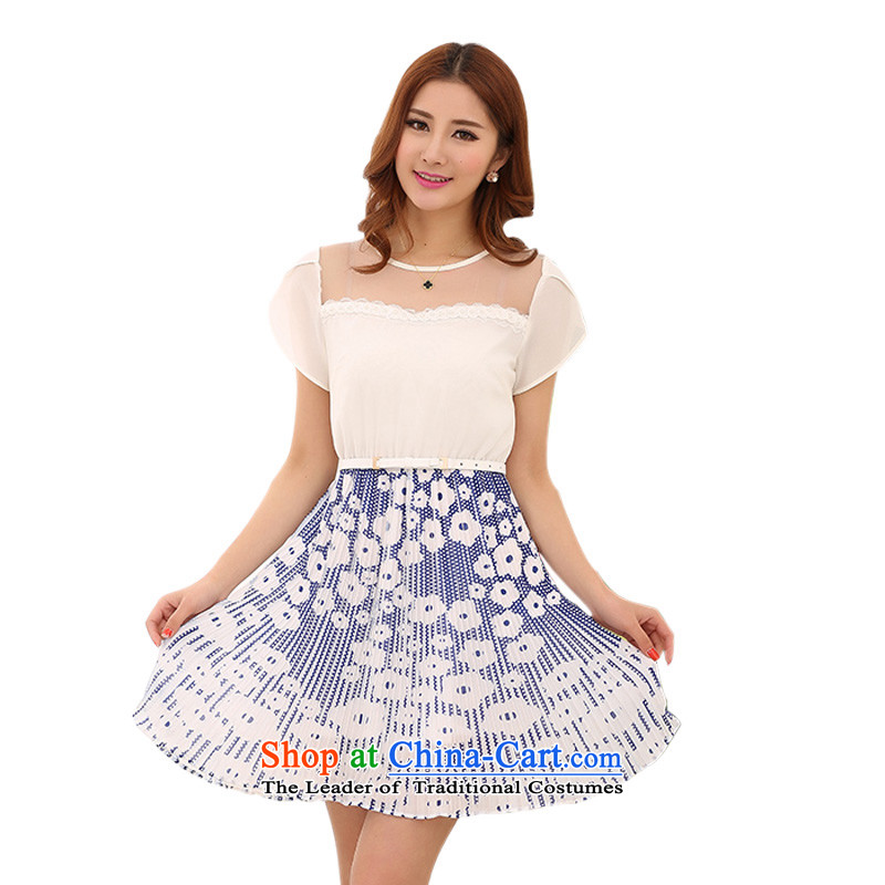 C.o.d. Package Mail mm thick snow woven dresses 2015 Summer fresh sweet stamp puzzle color short skirts XL Graphics thin OL gauze skirt聽around 110-120 catty blue L