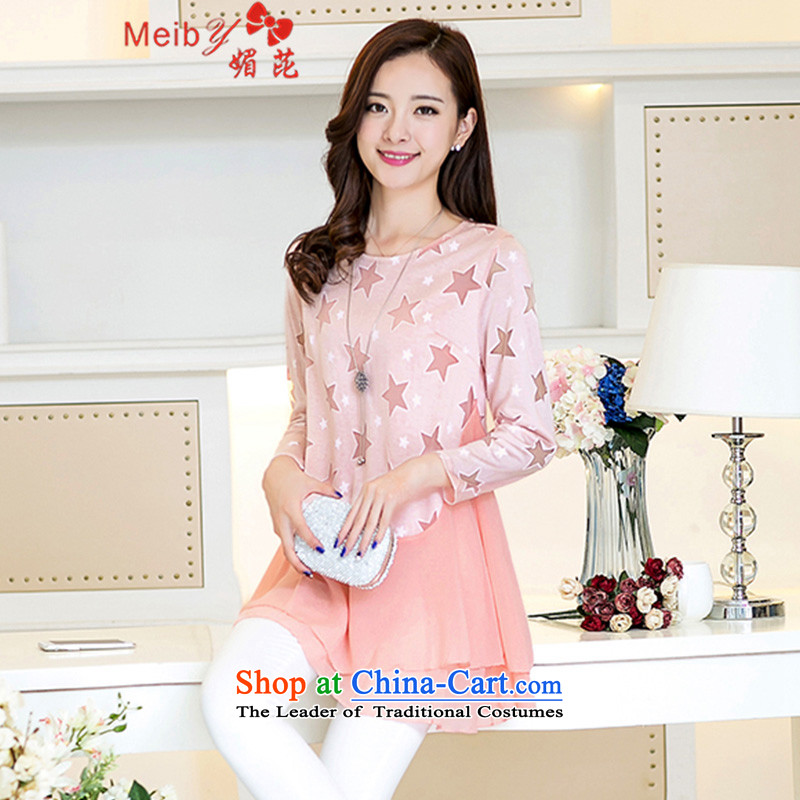 Maximum number of female Sleek and versatile thick mm200 catty to increase new long-sleeved_ Choo leave them for round-neck collar chiffon lace up girls shirt, forming the Netherlands shirt 9136 9136 pink XXL