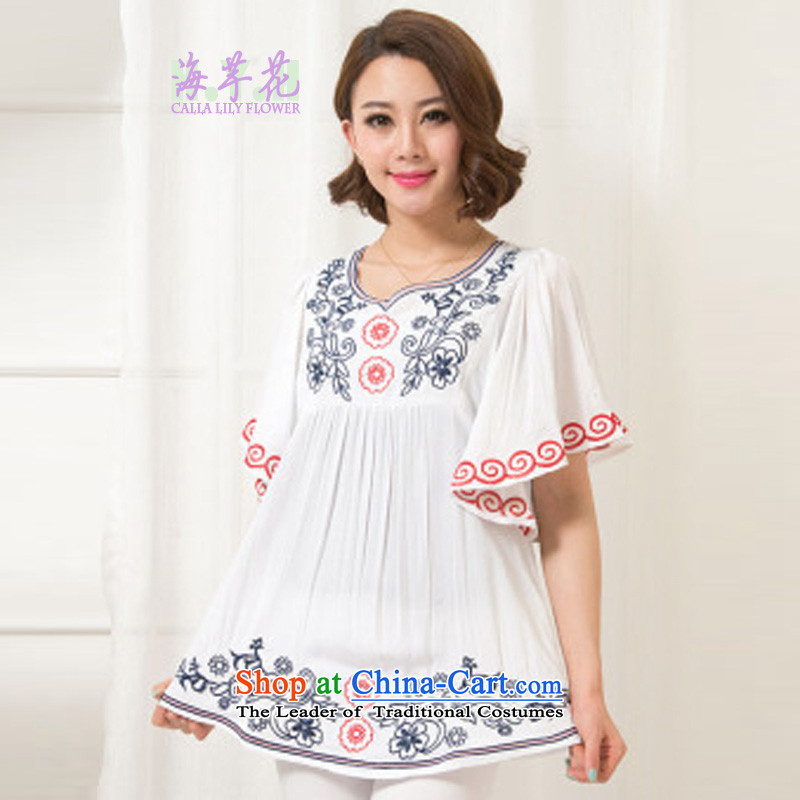 The sea route take the Korean version of the new embroidered chicken tacit horn cuff pure cotton shirt female Summer 2015 relaxd larger shirt 5C1073 White 2XL