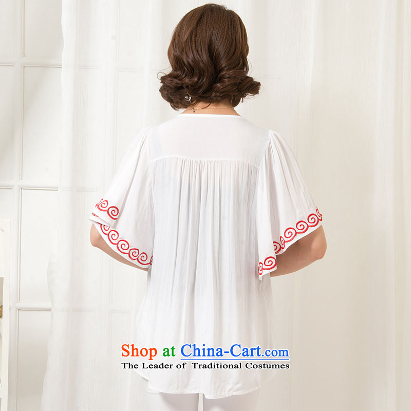The sea route take the Korean version of the new embroidered chicken tacit horn cuff pure cotton shirt female Summer 2015 relaxd larger shirt 5C1073 white flowers....  2XL, sea shopping on the Internet