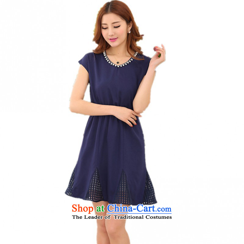 C.o.d. Package Mail thick mm larger pearl round-neck collar dresses 2015 new summer goddess van OL lady short-sleeved chiffon skirts large dark blue XXL approximately 140-155 catty