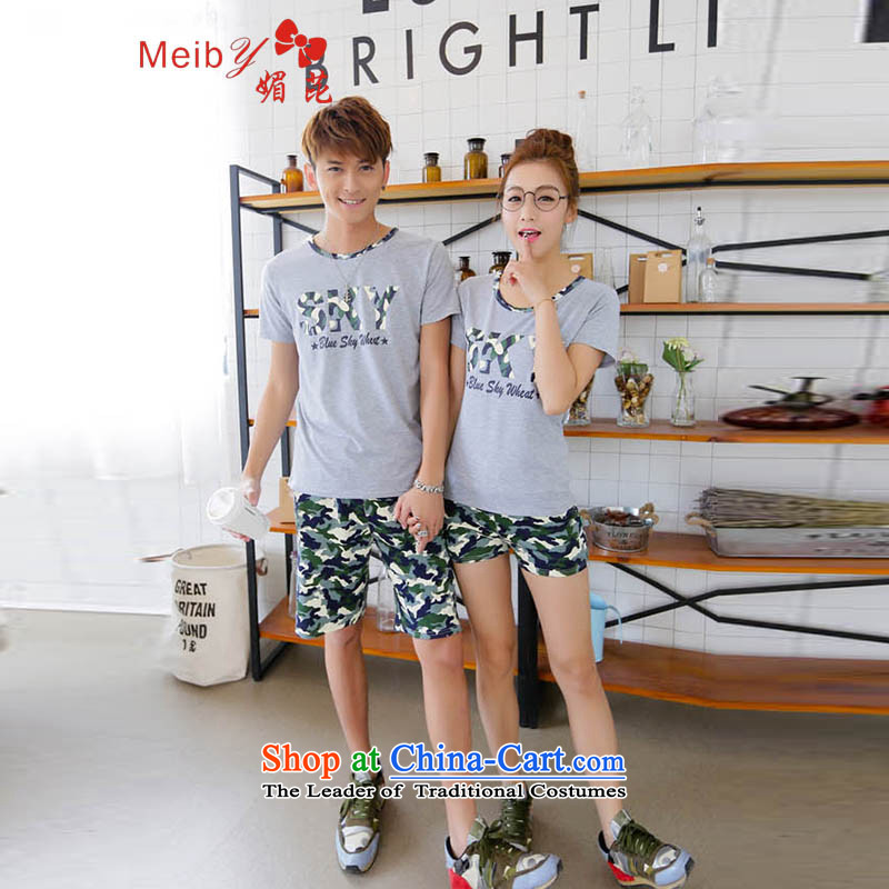 Maximum number of ladies wild real concept Sleek and versatile large summer new couple short-sleeved T-shirt kit Korean couples camouflage shorts Sau San Taliban Services 632 gray聽XXL