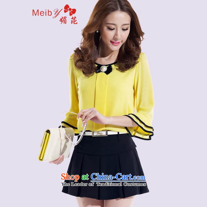 Large meiby female wild spring new lady chiffon dresses two kits of Sau San thin stylish shirt graphics short skirts trousers kit skirt 8765 YellowXXL