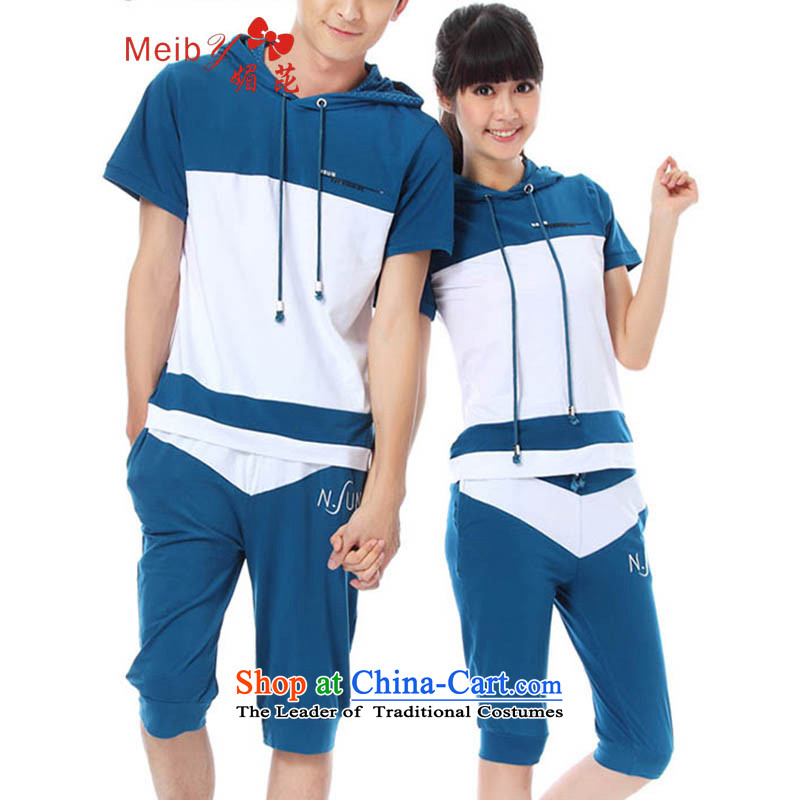 Large meiby female wild summer new couples with Korean Sports and leisure with cap of the sportswear stitching knocked color wild 6730 BlueXL