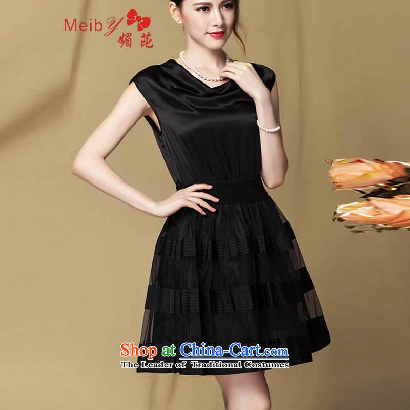 Large meiby female wild Sleek and versatile large summer new look elegant heap heap collar mesh stitching knocked color Foutune of silk dresses 317 black燣