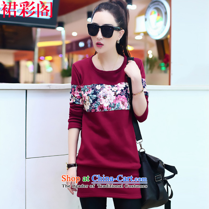 The new cabinet is also skirt the lint-free thick long-sleeved T-shirt female Korean loose not long in the Netherlands, forming the lint-free lint-free wine red 807 femaleM