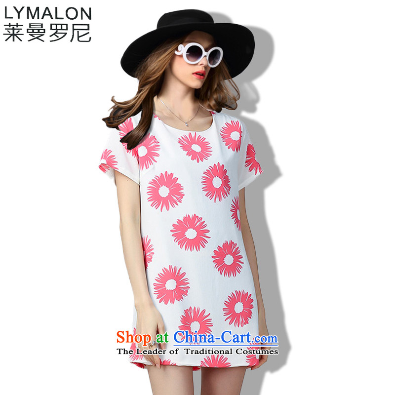 The lymalon lehmann thick, Hin thin Summer 2015 mm thick large wild women to loose short-sleeved dresses 60353�L Pink