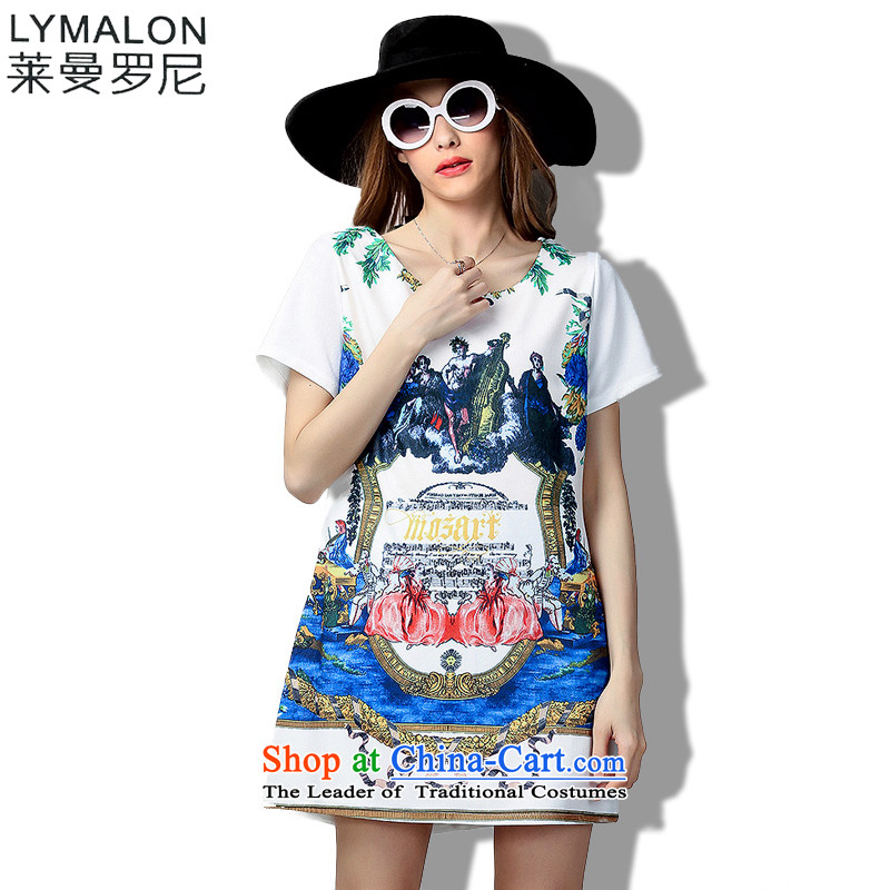The lymalon lehmann thick, Hin thin 2015 Summer large wild women to intensify the loose short-sleeved dresses 60363 White燲L