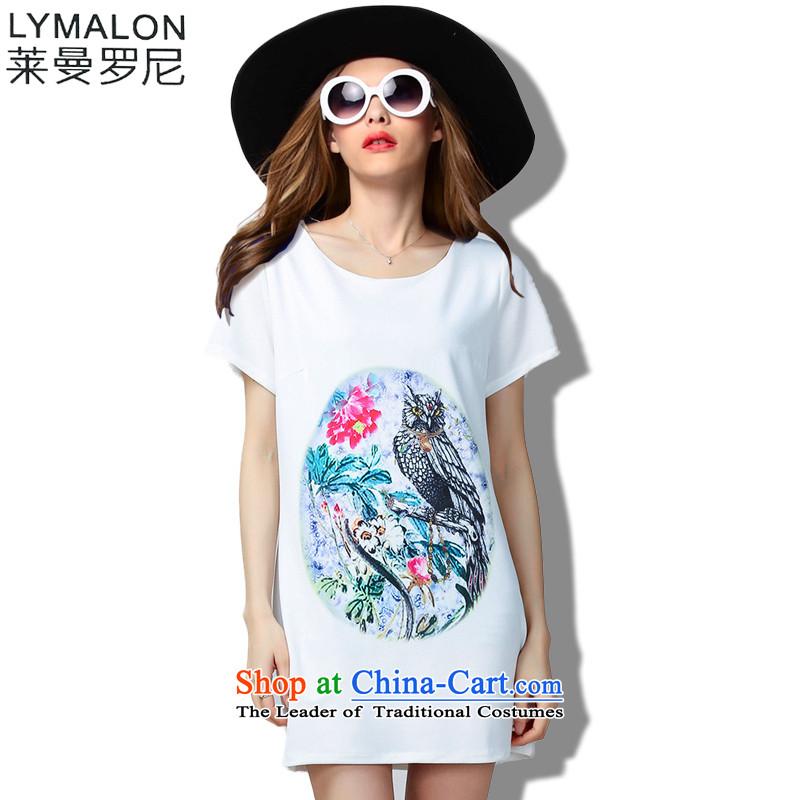 The lymalon lehmann thick, Hin thin Summer 2015 mm thick large wild women to loose short-sleeved dresses 60393 White燲L