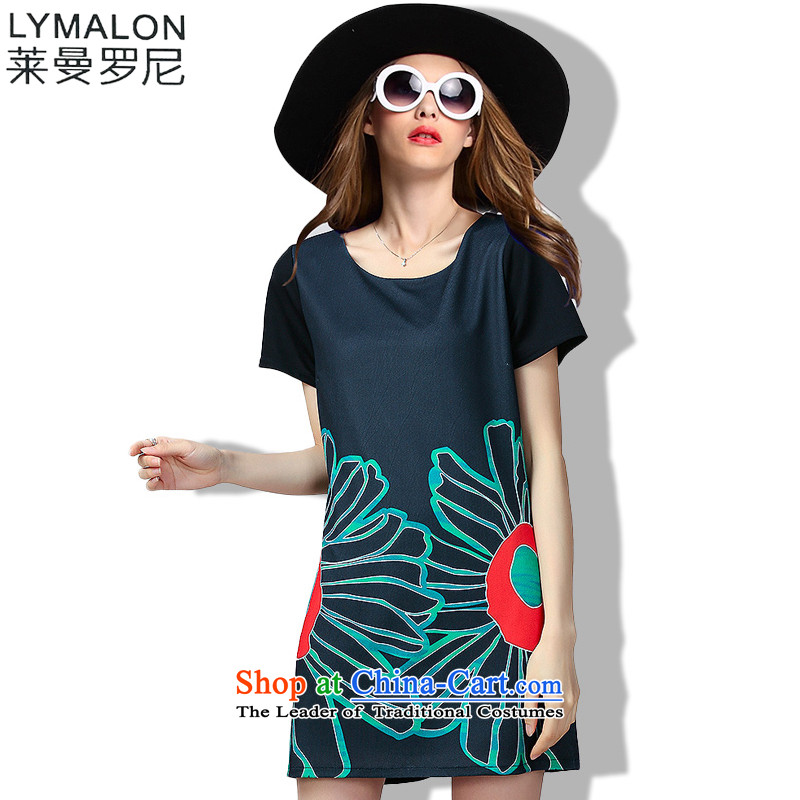The lymalon lehmann thick, Hin thin Summer 2015 mm thick large wild women to loose short-sleeved dresses 60513 Black燲XL