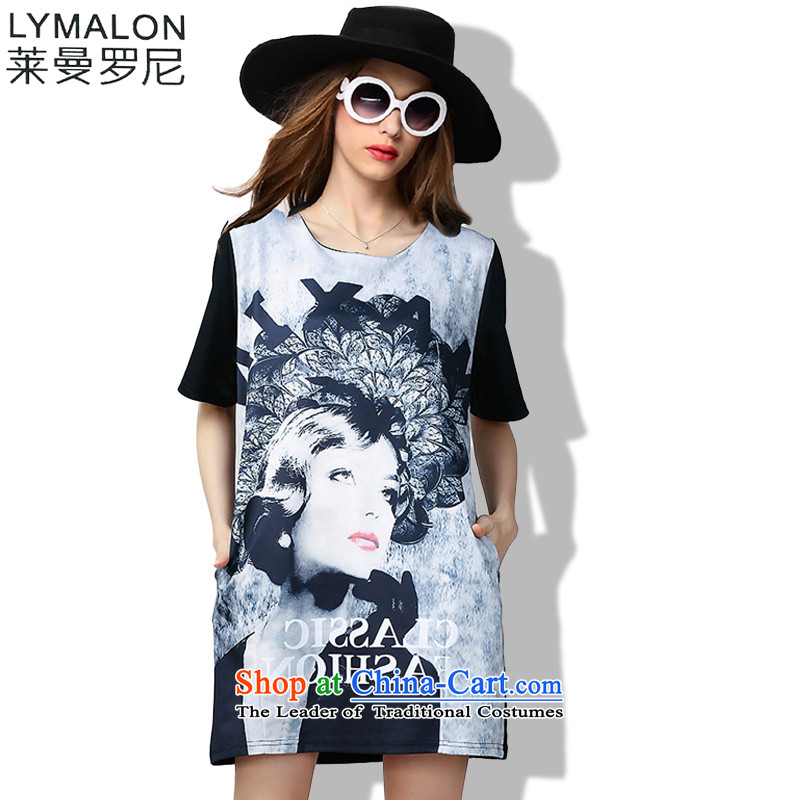 The lymalon lehmann thick, Hin thin 2015 Summer large wild women to intensify the loose short-sleeved dresses color picture 60603 PART燲L
