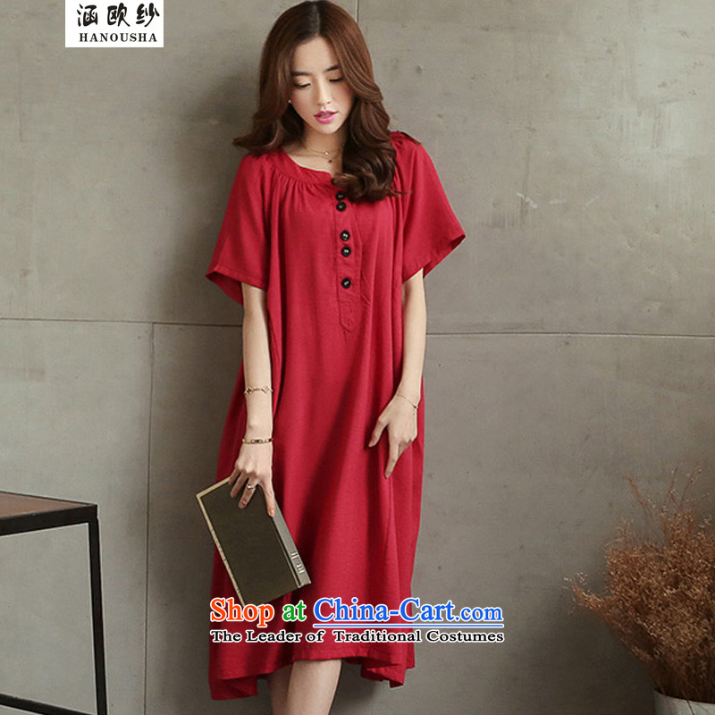 The OSCE large yarn covered by women's dresses 200 to 300 catties catty to xl thick sister summer pregnant women large fat mm skirt 2015 Red燤