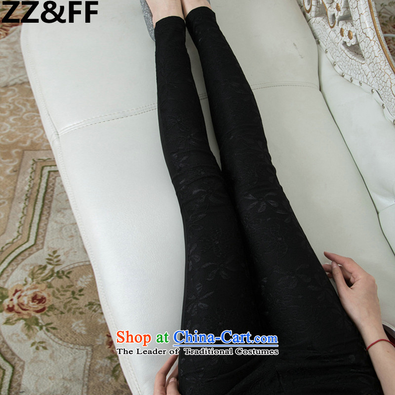 The spring and summer of 2015 New Zz_ff sections, to lace trousers xl thick MM stretch of Sau San ladies pants, forming the black trousers XXXL_165-200 catties_