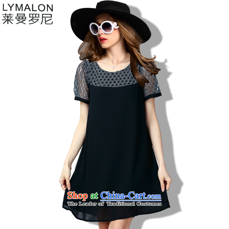 The lymalon lehmann thick, Hin thin Summer 2015 mm thick large wild women to loose short-sleeved dresses 60673 Black�L