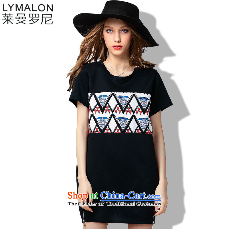 The lymalon lehmann thick, Hin thin Summer 2015 mm thick large wild women to loose short-sleeved dresses 60693 Black燲L