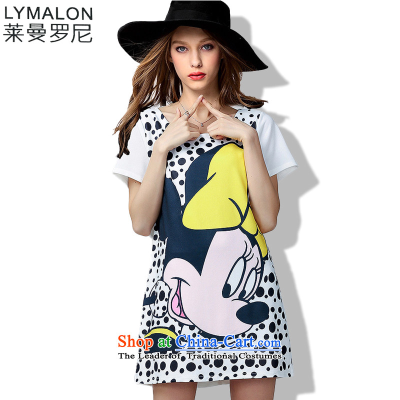 The lymalon lehmann thick, Hin thin Summer 2015 mm thick large wild women to loose short-sleeved dresses 60703�L White