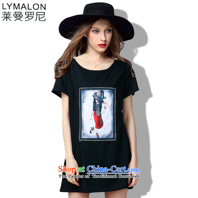 The lymalon lehmann thick, Hin thin 2015 Summer large wild women to intensify the loose short-sleeved dresses 60723 Black燲L