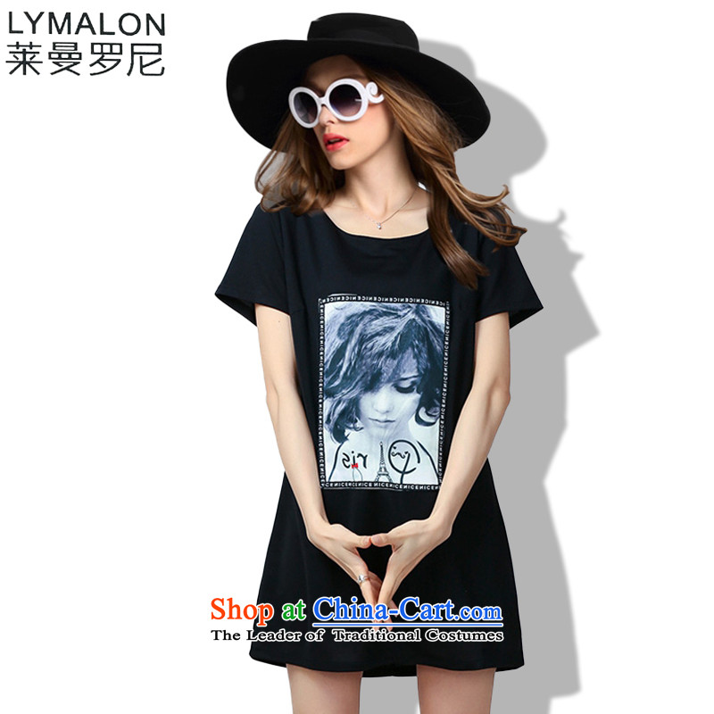 The lymalon lehmann thick, Hin thin Summer 2015 mm thick large wild women to loose short-sleeved dresses 60733 Black燲L