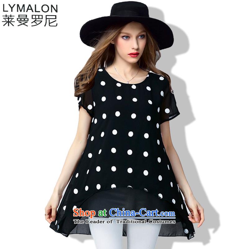 The lymalon lehmann thick, Hin thin 2015 Summer new large wild women loose waves point round-neck collar short-sleeved shirt 60763 chiffon black燲XL