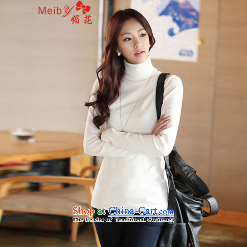 Meiby high collar, forming the basis for autumn and winter by Korean female shirt version of large long-sleeved blouses and code in compassionate long thick mm thick cotton t-shirt 3XL 1832 White.