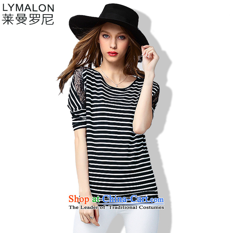 The lymalon lehmann thick, Hin thin Summer 2015 mm thick large wild women to loose short-sleeved T-shirt 60773 Black�L