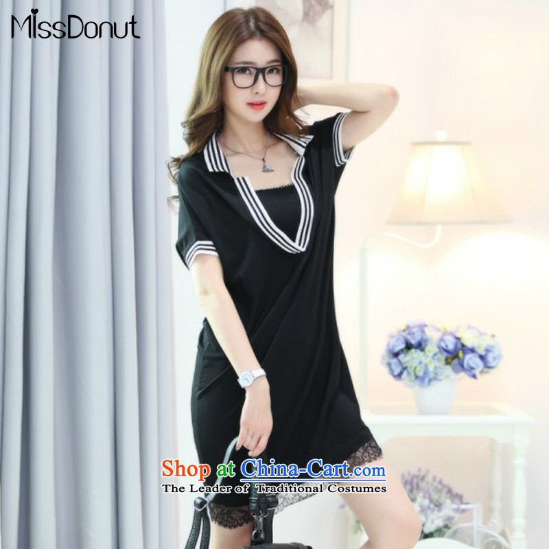 The new summer missdonut2015 to increase women's code 200 catties Korean thick sister lace stitching thick mm short-sleeved black dress code XL