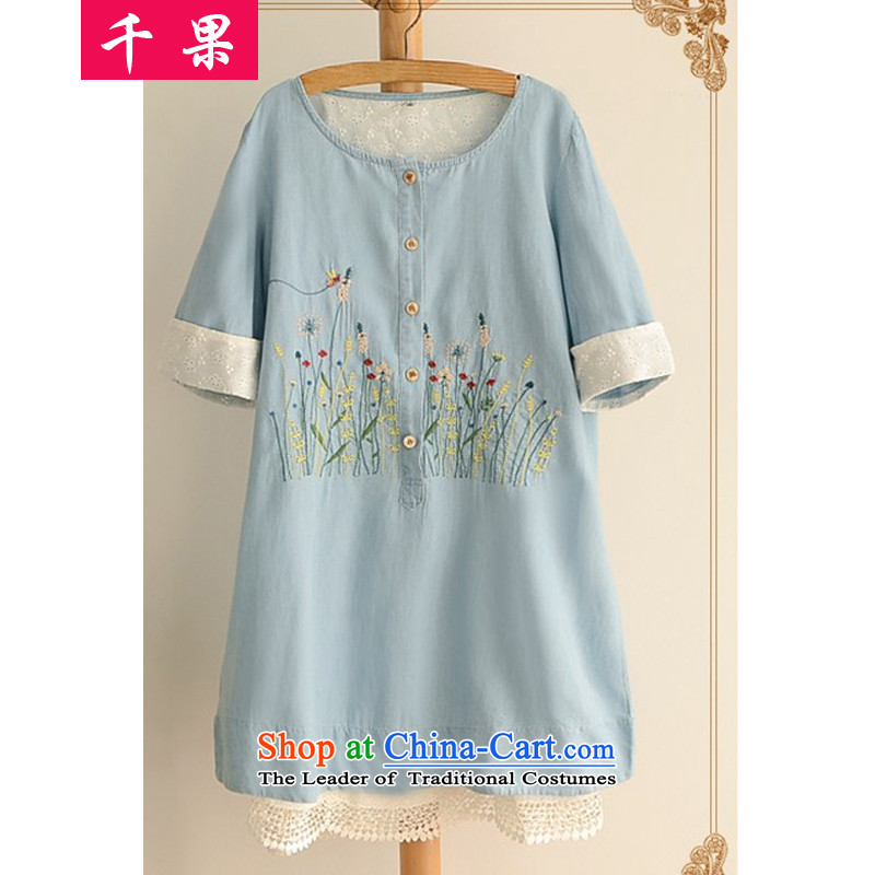 The results of the�15 Summer new extra thick MM female Korean skirt wear loose cuff. Embroidered stitching cowboy graphics thin dresses 1986 color picture燲L