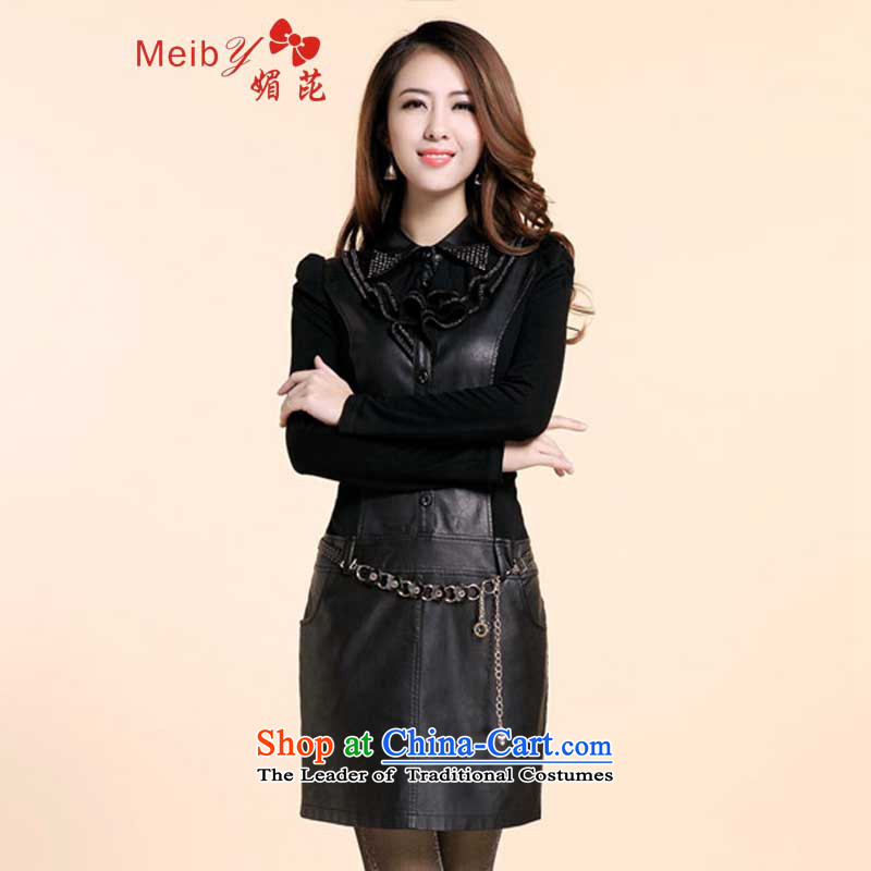 Maximum number of ladies wild 2013 Autumn New_ Korean Sau San pu. Long-sleeved skin and package skirt dresses women燺sent waistband _8335 Black燤