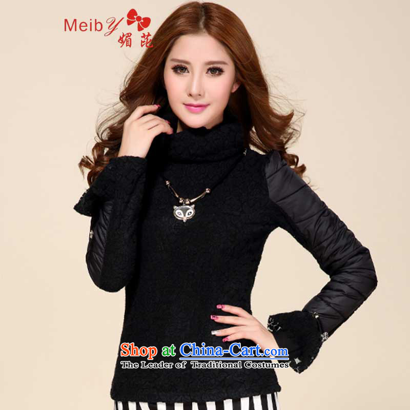 Large meiby female wild autumn and winter_, forming the thin lint-free t-shirt, Sau San warm lace t-shirt high collar roses Korea long-sleeved Pullover 8381 Black聽XL