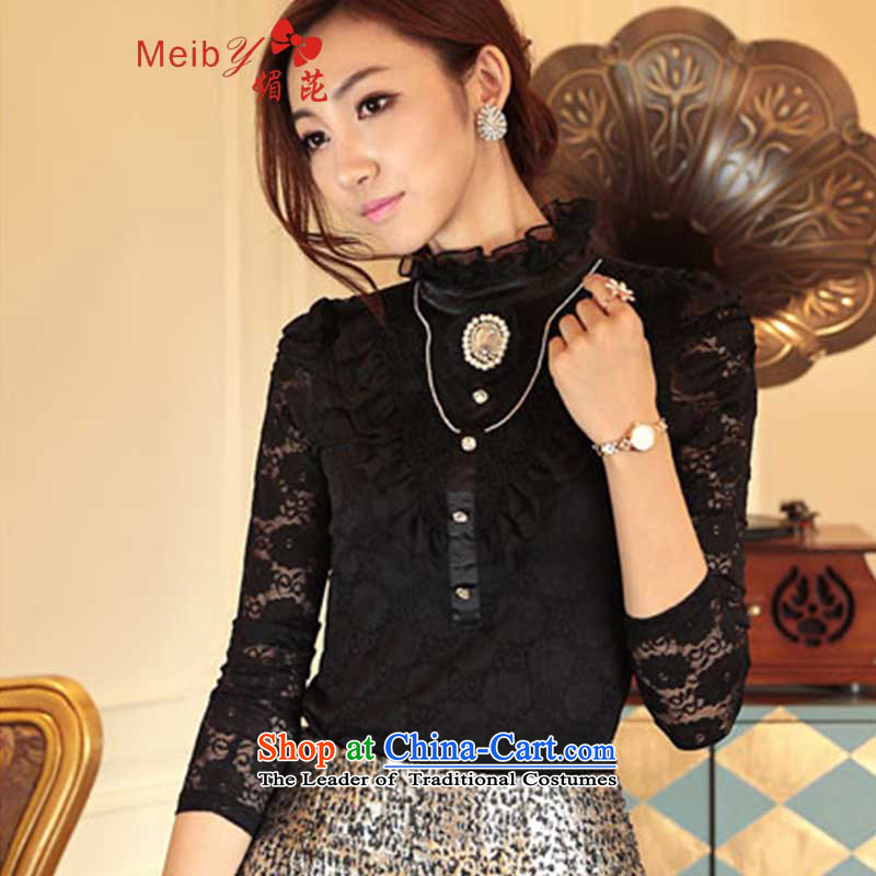 Large meiby female wild 2013 autumn and winter plus long-sleeved shirt, forming the lint-free thick Korean-style palace lace Sau San stylish shirt collar large 8382 Black plus lint-free燤