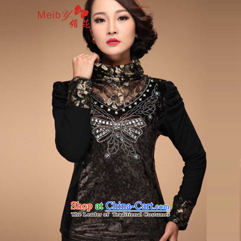 Large meiby female wild winter 2013 plus lint-free thick gauze T-shirt lace high collar forming the upscale women small shirt 8395 Gold燲XXL shirt
