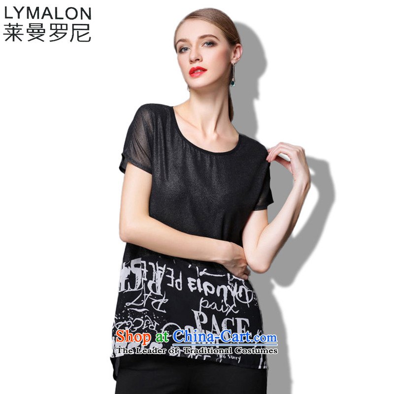 The lymalon lehmann thick, Hin thin Summer 2015 mm thick large wild women to intensify the loose short-sleeved T-shirt 1802 Black燲XL