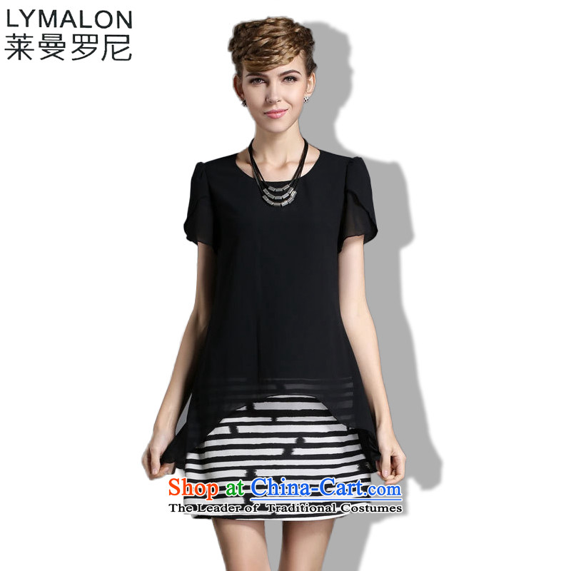 The lymalon lehmann thick, Hin thin Summer 2015 mm thick large wild women to intensify the relaxd dress short-sleeved Black 1856XL