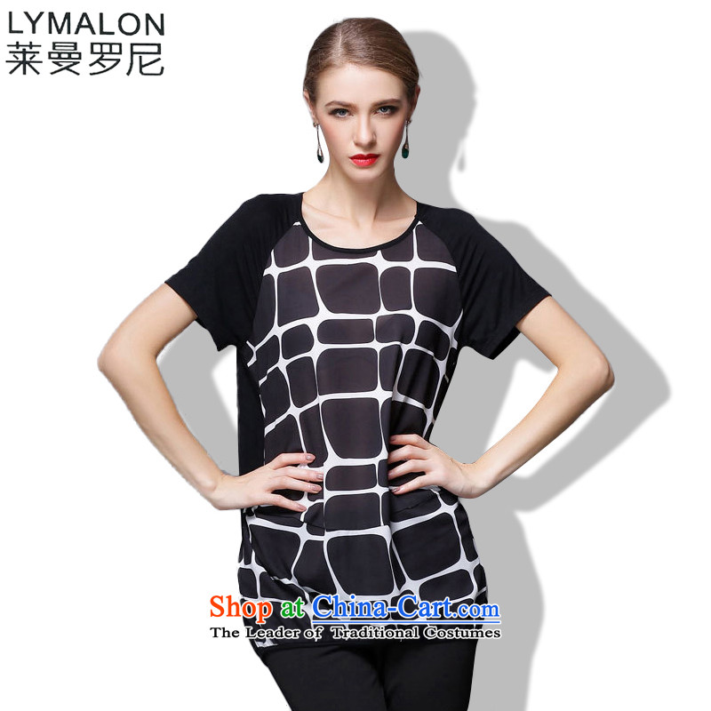 The lymalon lehmann thick, Hin thin Summer 2015 mm thick large wild women to intensify the loose short-sleeved T-shirt chiffon燲XXL 1805 Black