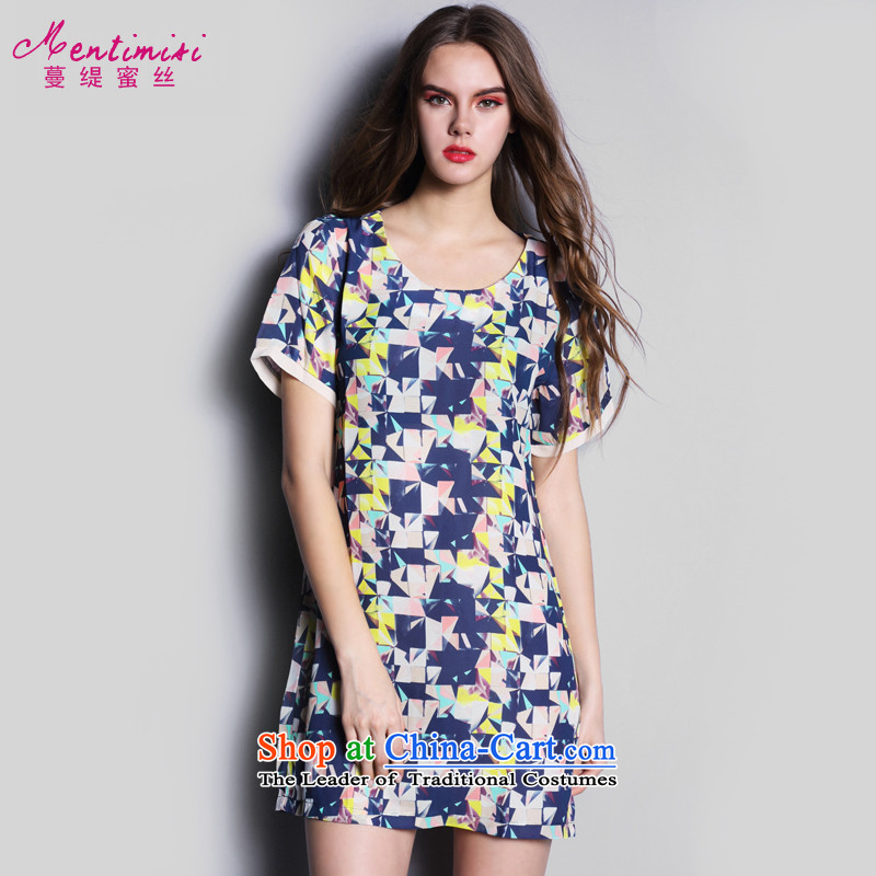 Overgrown Tomb economy honey silk european sites for聽summer 2015 new round-neck collar short-sleeved large chiffon Fat MM dresses skirts聽S2616聽聽XXXL color picture